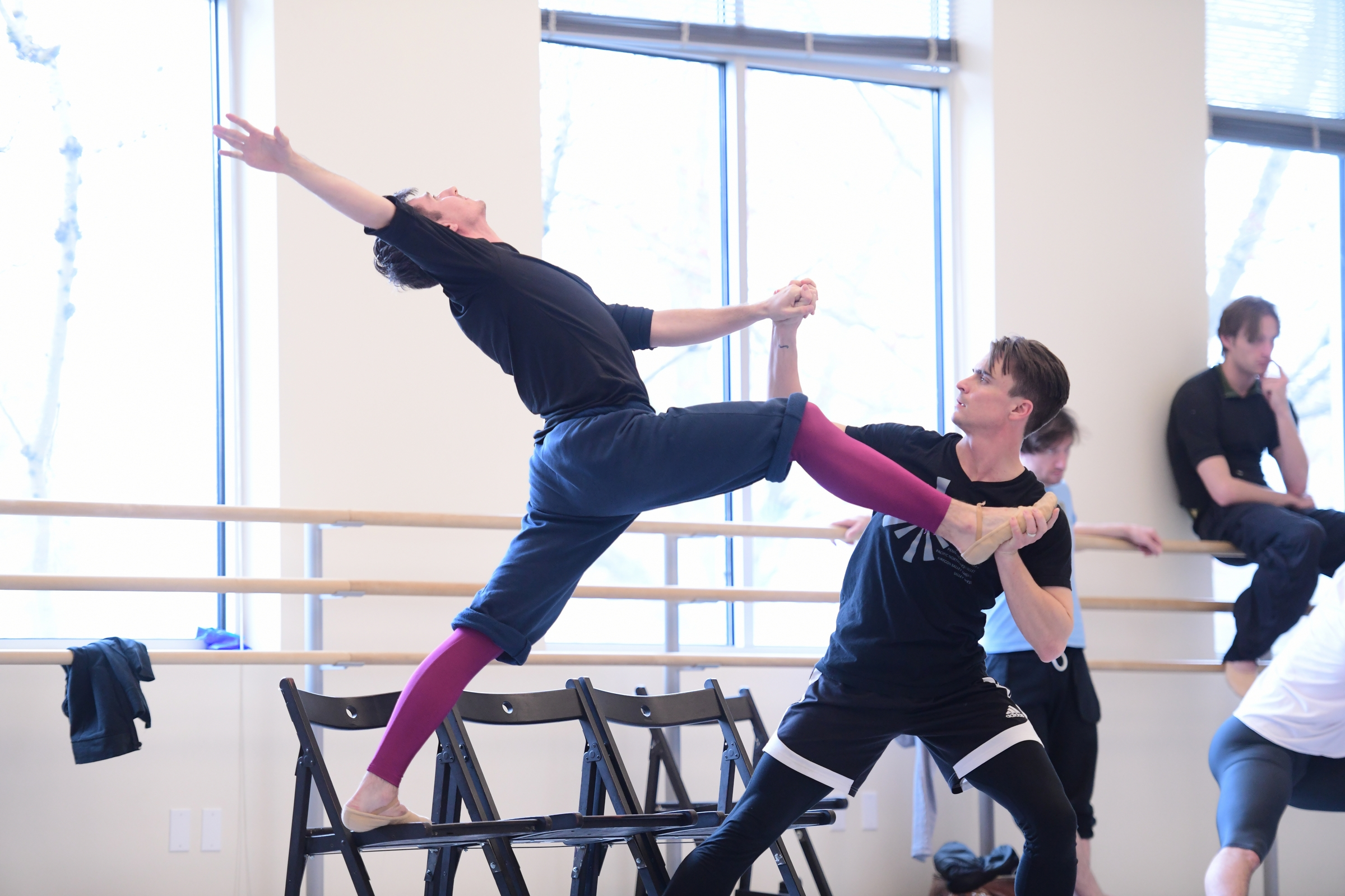 OBT dancers Thomas Baker and Peter Franc rehearsing Nicolo Fonte's Left Unsaid, one of five ballets presented in Oregon Ballet Theatre's MAN/WOMAN, April 12 - 24, 2018 at the Newmark Theatre. Photo by Yi Yin.