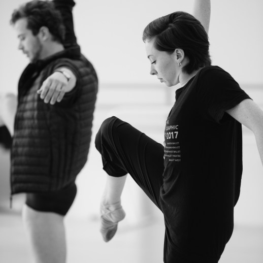 Avery Reiners rehearsing Katherine Monogue's world premiere of her new work, one of the many ballets presented in Oregon Ballet Theatre's Closer, May 24 - June 3, 2018 at the BodyVox Dance Center. Photo by Chris Peddecord