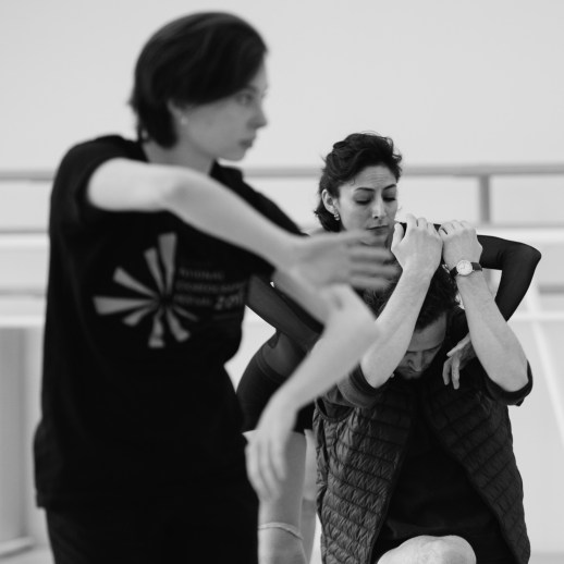 OBT dancers rehearsing Katherine Monogue's world premiere of Saudade, one of the many ballets presented in Oregon Ballet Theatre's Closer, May 24 - June 3, 2018 at the BodyVox Dance Center. Photo by Chris Peddecord