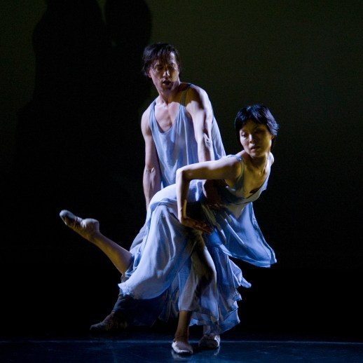 Makino Hayashi and Michael Linsmeier performing Hayashi's world premiere 'What do you see...', part of Oregon Ballet Theatre's Closer, May 24 - June 3, 2018 at the BodyVox Dance Center. Photo by Randall Lee Milstein