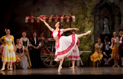 """Makino Hildestad in the company premiere of August Bournonville's """"Napoli,"""" one of two works on Oregon Ballet Theatre's """"Amore Italiano"""" program, October 10-17, 2015 at the Keller Auditorium. Photo by James McGrew."""