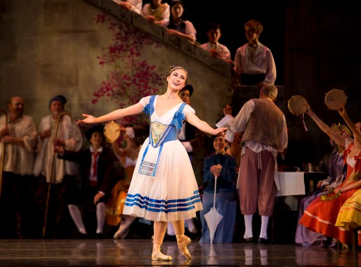 Candace Bouchard in the company premiere of August Bournonville's Napoli, one of two works on Oregon Ballet Theatre's Amore Italiano program, October 10-17, 2015 at the Keller Auditorium. Photo by James McGrew.