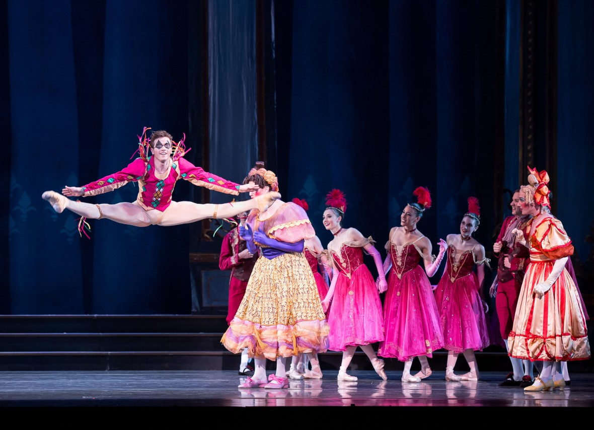 """Avery Reiners (as the Jester) in the company premiere of Ben Stevenson's """"Cinderella,"""" running February 28 - March 7, 2015, at Portland's Keller Auditorium. Photo by Jingzi Zhao."""