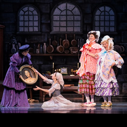 """Left to right: Lisa Kipp (as the Stepmother), Xuan Cheng (as Cinderella), Brett Bauer and Michael Linsmeier (as the Ugly Stepsisters), and Jeffery Stanton (as the Father) in the company premiere of Ben Stevenson's """"Cinderella,"""" running February 28 - March 7, 2015, at Portland's Keller Auditorium. Photo by Jingzi Zhao."""