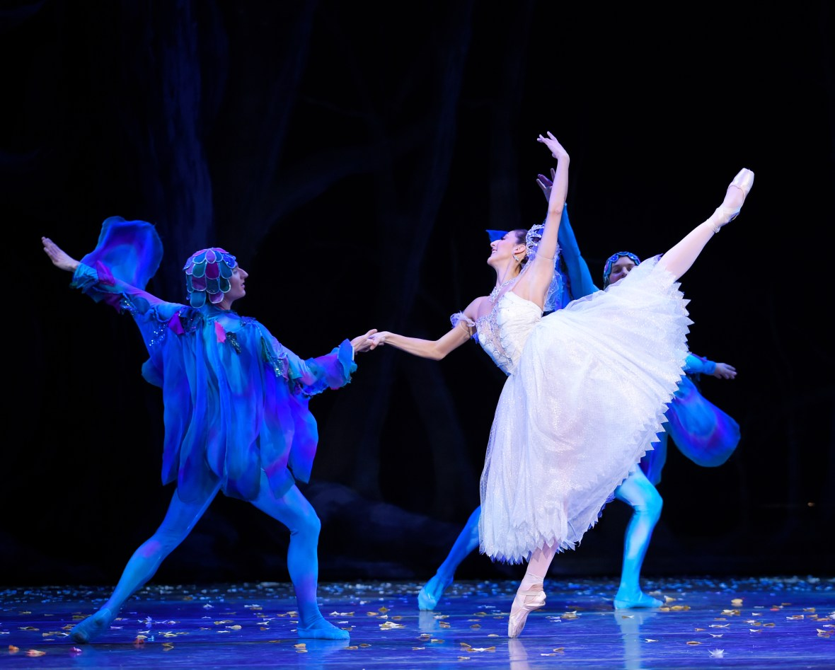 Martina Chavez (as the Fairy Godmother) with Thomas Baker (as a Dragonfly) in the company premiere of Ben Stevenson's Cinderella, running February 28 - March 7, 2015, at Portland's Keller Auditorium. Photo by Yi Yin.