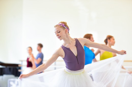 Jessica Lind in rehearsal for August Bournonville's Napoli, running October 6-13, 2018 at the Keller Auditorium. Photo by Yi Yin