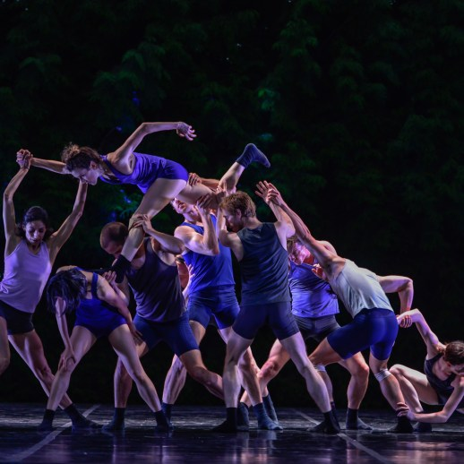 OBT dancers in Gioconda Barbuto's BringingOutsideIn, one of three works presented at OBT's Choreography XX, June 29 - 30, 2017 at the Washington Park Rose Garden Amphitheater. Photo by Yi Yin.