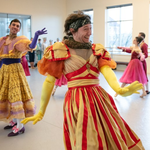 "OBT company artist Christopher Kaiser and soloist Michael Linsmeier rehearsing their roles as the evil stepsisters in Ben Stevenson's ""Cinderella,"" running February 16 - 23, 2019, at Portland's Keller Auditorium. Photo by James McGrew."