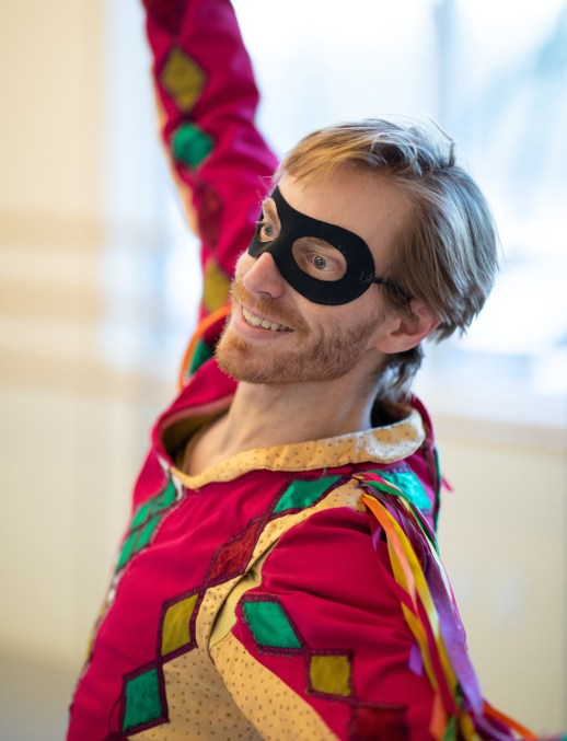 "OBT principal dancer Chauncey Parsons rehearsing as the jester in Ben Stevenson's ""Cinderella,"" running February 16 - 23, 2019, at Portland's Keller Auditorium. Photo by James McGrew."
