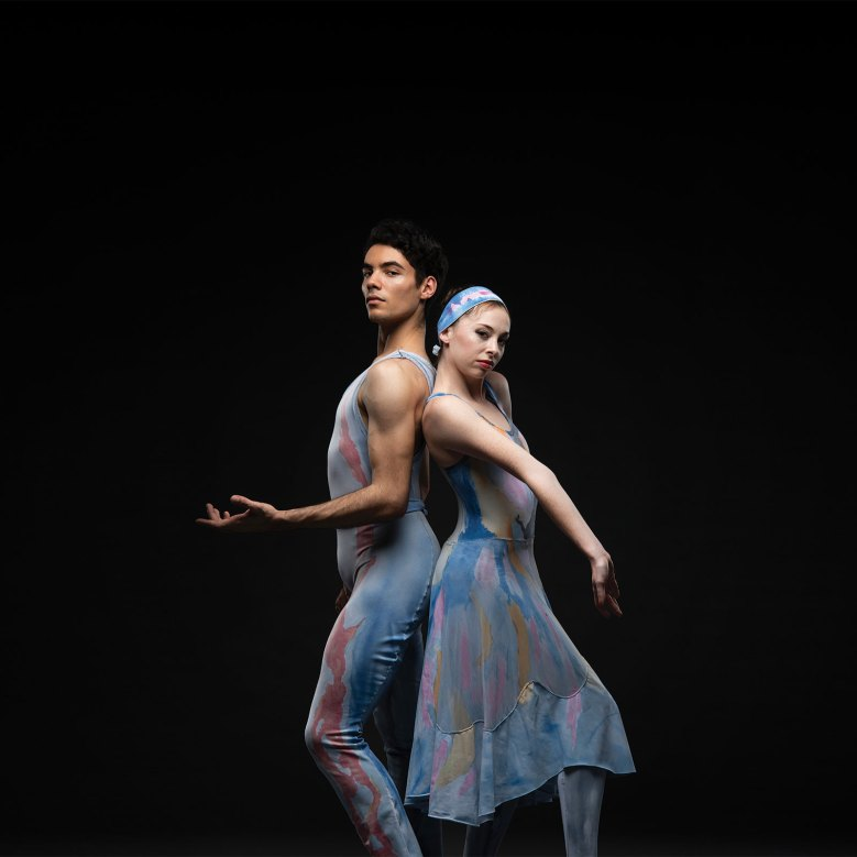 Theodore Watler and Katherine Monogue in Trey McIntyre's Robust American Love. One of three works presented in Oregon Ballet Theatre's production of THE AMERICANS, running June 7-15, 2019 at Portland's Newmark Theatre. Tickets at OBT.ORG. Photo by Christopher Peddecord