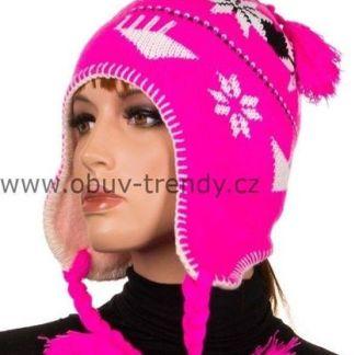dámská čepice norský vzor růžová