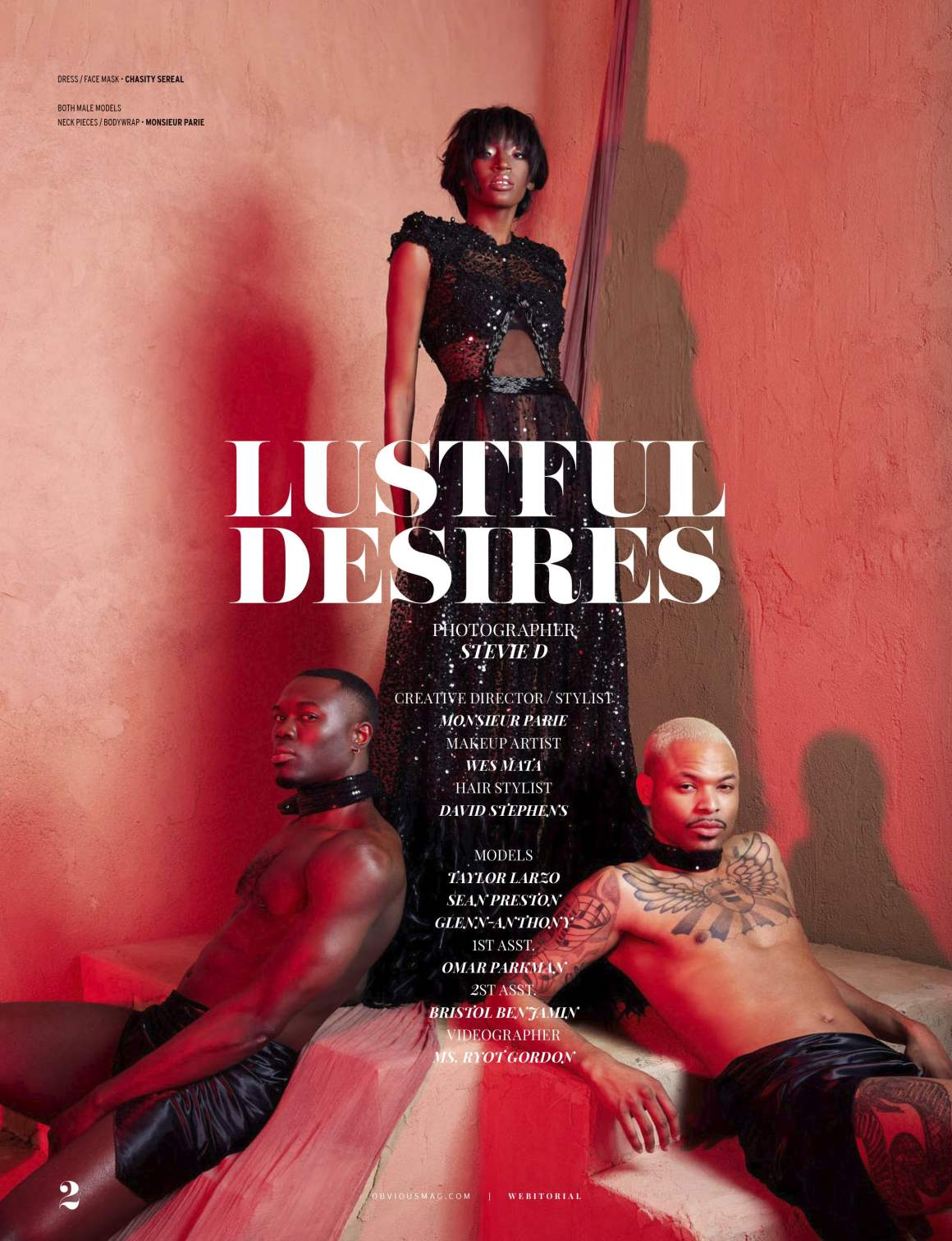 Taylor Larzo, Sean Preston, and Glenn-Anthony star in 'Lustful Desires' photographed by Stevie D. Creative Direction and styling by Monsieur Parie.