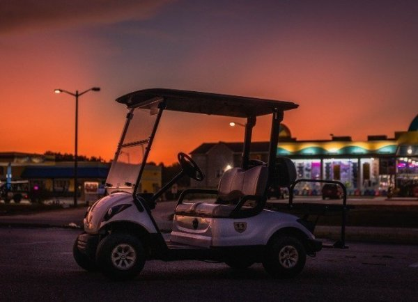 Side Sunset View of Golf Cart OBX 1 - Product 1
