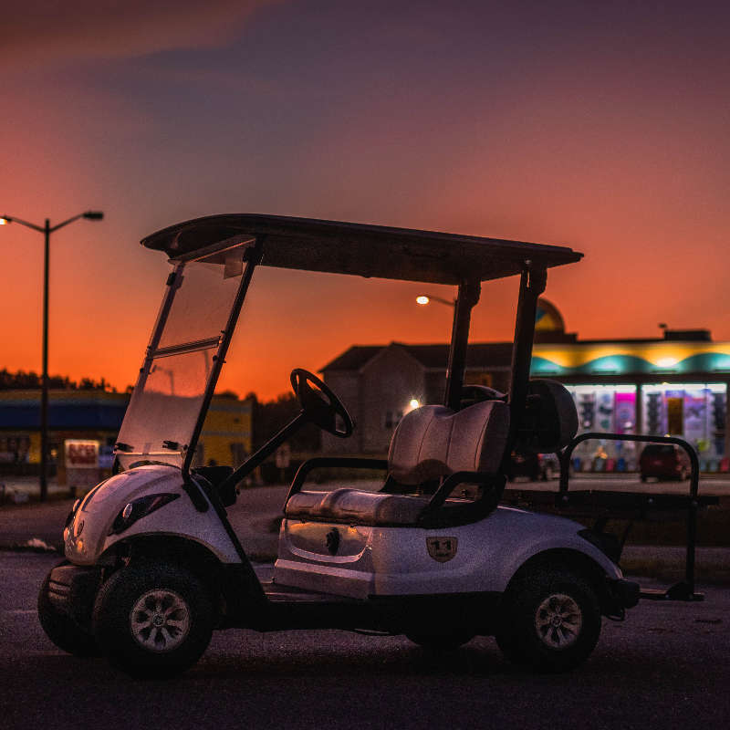 Side Sunset View of Golf Cart