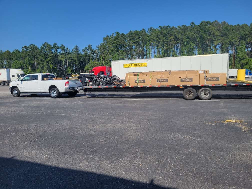 Trailer loaded with new bikes to add to the fleet!