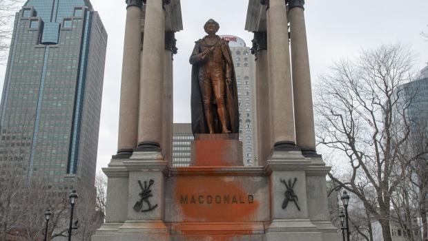 The statue of John A. Macdonald was vandalized