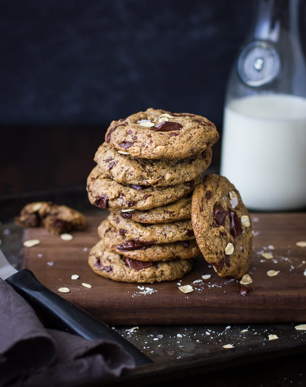 Chocolate Chip Almond Butter Cookies with Buckwheat, Maple, and Oats