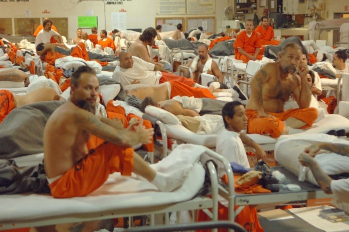 Overcrowding in a California state prison