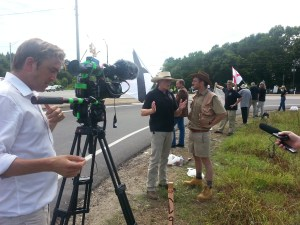 The BBC filming the Wetumpka Southern Workers Demonstration