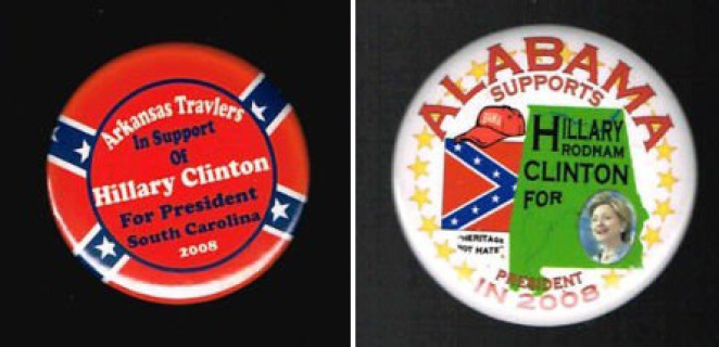 Various pins Hillary used a few years back while now saying Southerners basically shouldn't even have one in their home.
