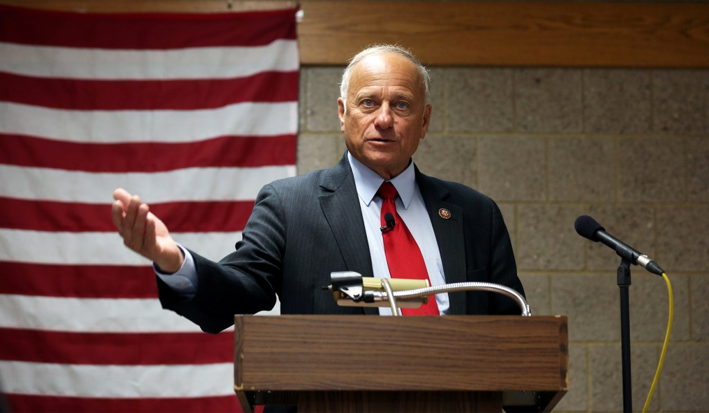 Republican U.S. Representative Steve King holds a Town Hall at the Grundy Center Community Center in Grundy Center Iowa