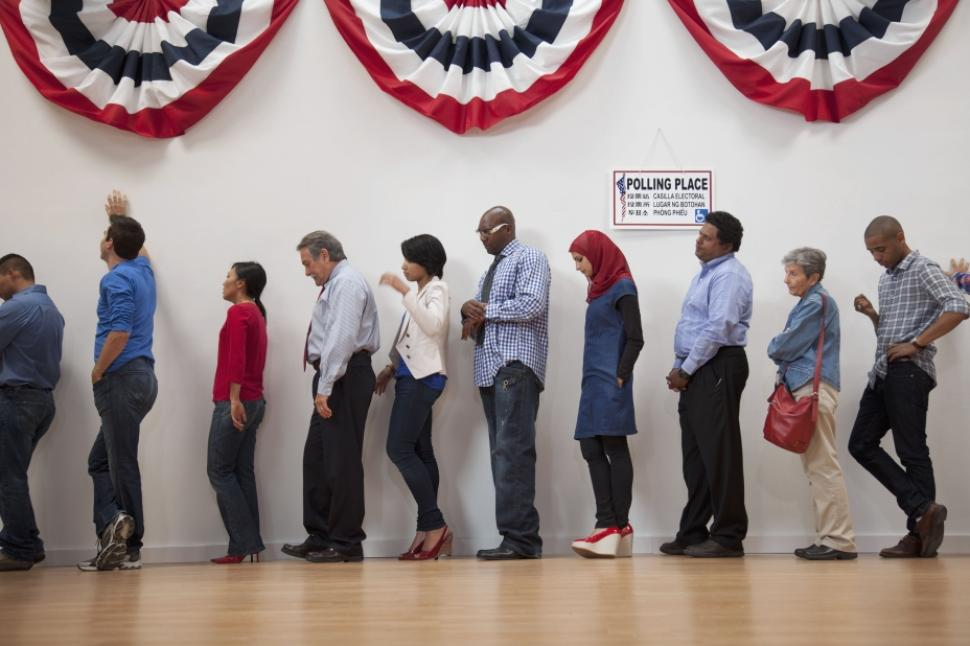 (People line up to vote in America, via Occupy)