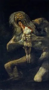 Saturn Devouring His Son by Francisco Goya, painted sometime between 1819 and 1823.