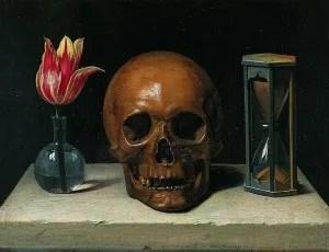 Still Life with a Skull by Philippe de Champaigne (1602-1674)