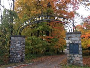 The historical entrance arch to the park.