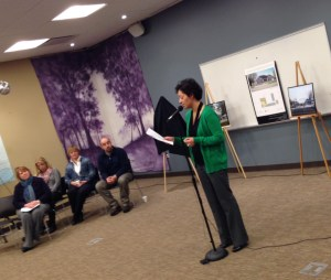 Carrie Kosla announces the Feb. 17 grand opening for COVE's new facility at the Ludington Public Library Wednesday morning.