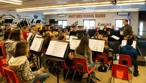 The band room would be moved to a new location.