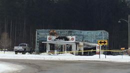 The that was building decorated as an old-fashioned gas station near Mears that was burned early this morning.