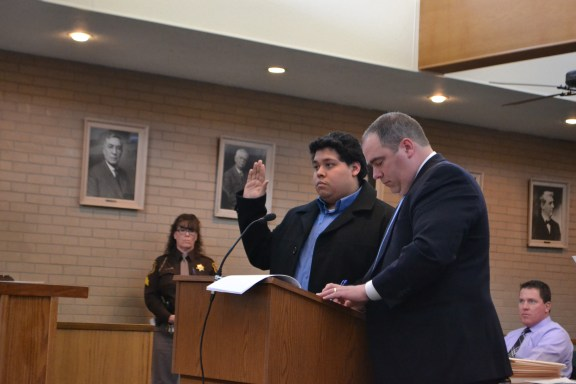 Isisoro Rosas pleads no contest to second-degree CSC in 27th Circuit Court, March 16. At right is his attorney, Timothy Hayes.