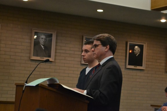 Joshua Chupp, Jr., at left, with his attorney, Charles Chamberlain, Jr.