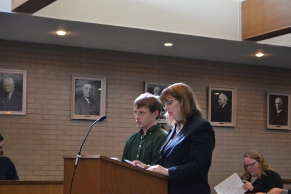 Jesse Era Ingalls-Johnson with his attorney, Christine Clancy Frisbie.