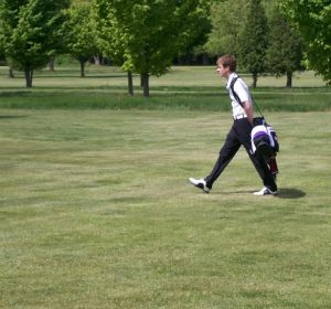 Shelby's Keaton Inglis strides down the 11th fairway. Inglis shot a 77 good for a third place tie.