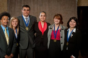 Students who Medaled from L to R Nathan Strejcek (MCC) Carly Davis (MCC) Jon Wittlieff (MCC), Corine Saunders LHS), Alyssa Campbell (MCC) and Autumn Espinoza(WSCC).