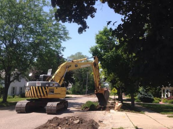 Crews from Hallack Contracting work on Johnson Street,  June 8.