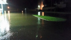 The parking lot at the New Era Wesco flooded Saturday night. Photo courtesy of Cam Hoffman.