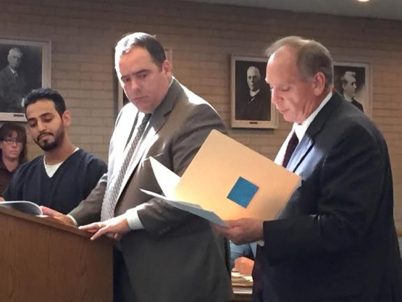 Simon Saldana with his attorney, Timothy Hayes (center) and Oceana County Assistant Prosecutor Jeffrey Kabot during circuit court hearing last month.