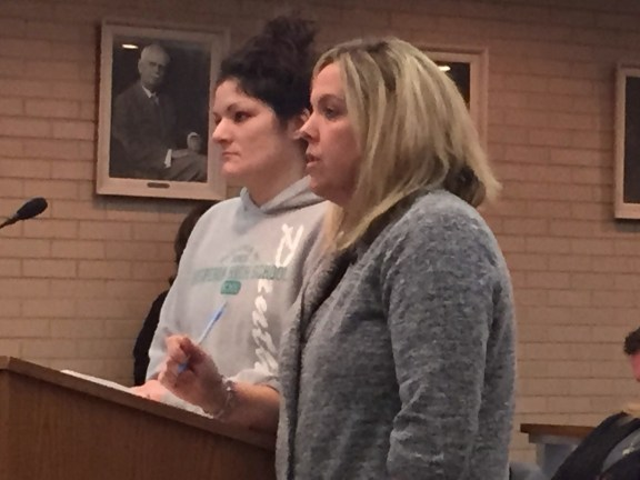 Abigail Dutton, at right, with her attorney Melissa Dykman.