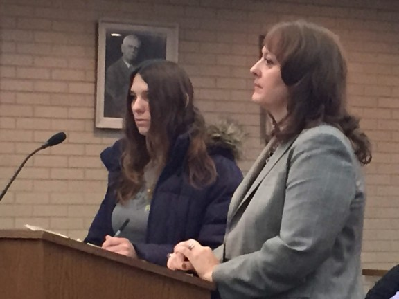 Jackie Knight, at left, with her attorney Julie Springstead Waltz.