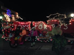 The Toys for Tots float in the Hart Lighted Christmas Parade.