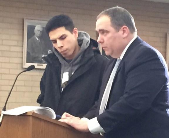 Brett Peoples with his attorney, Timothy Hayes, during a court hearing last month. - OCP file photo