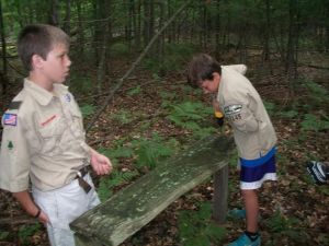 Boy scouts Name Combs, left, and Stephen Boyko.