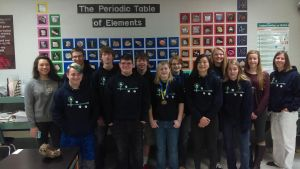 Hesperia High School Science Olympiad Team includes: front row, left to right, McGwire Cechura, Eli O'Neill, Camryn Johnson, Claire Rumsey, Alissa Tracy; back row, left to right, Olivia Prado, Luke Krupp, Collin Nielsen, Dominick Varela, Olivia Erlewein, Delaney Hussey, Megan Norris and Coach Jennifer Sherburn.