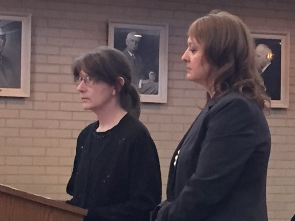 Laura Routley, at left, with her attorney Julie Springstead Waltz.