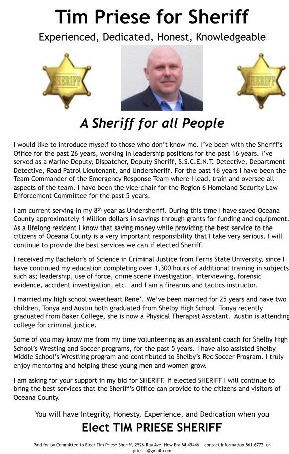 Tim Priese for Sheriff  first ad revised