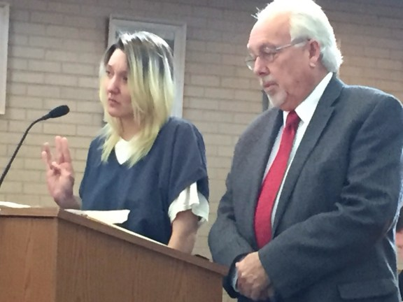 Jennifer Wigren with her attorney, Terry Shaw. Shaw is the former Oceana County Prosecutor.