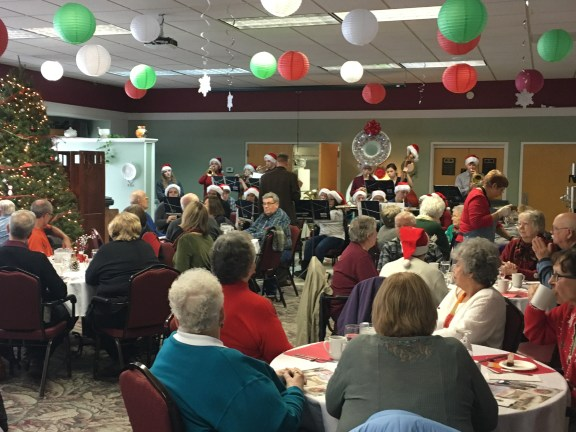 Local seniors enjoy a festive meal hosted by the Oceana County Council on Aging.